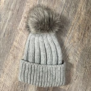 TopShop Grey Knit Pompom Hat